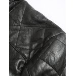 Zippered Spliced Stand Collar Faux Leather Jacket deal