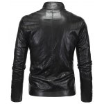 cheap Zippered Spliced Stand Collar Faux Leather Jacket