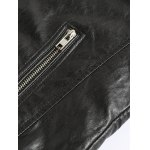 Zippered Spliced Stand Collar Faux Leather Jacket photo