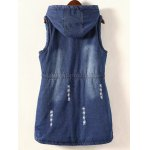 cheap Frayed Drawstring Hooded Vest
