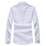 cheap Dotted Stripe Floral Lining Long Sleeve Shirt