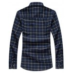 cheap Grid Button Up Long Sleeve Plus Size Shirt