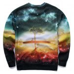 cheap 3D Starry Sky and Tree Print Round Neck Long Sleeve Sweatshirt
