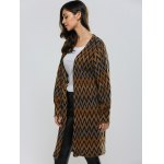 Wavy Stripe Puff Sleeve Cardigan for sale