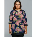 cheap Abstract Print Spliced T-Shirt