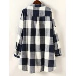 cheap Plaid Print High Low Plus Size Shirt