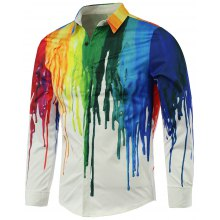 Long Sleeve Colorful Paint Dripping Print Shirt