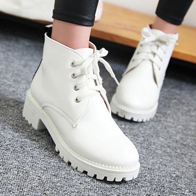 Letter Print Lace Up Ankle Boots