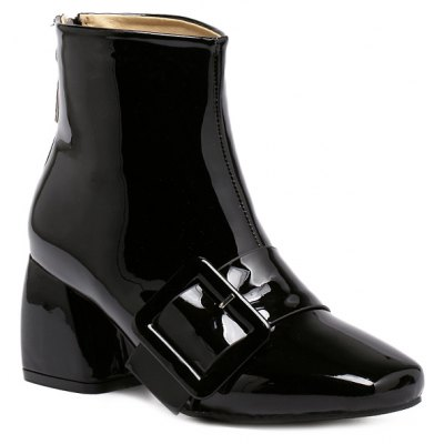 Square Toe Patent Leather Short Boots