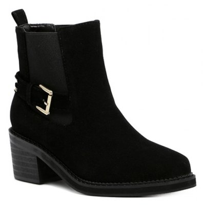 Elastic Band Pointed Toe Short Boots