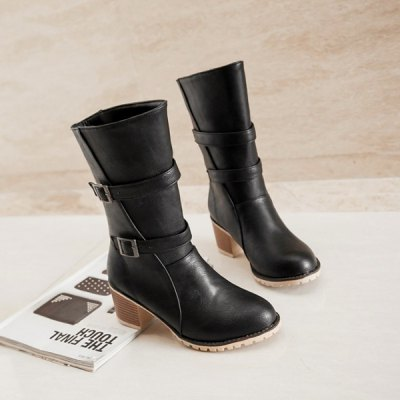 Buckle Chunky Heel Middle Boots