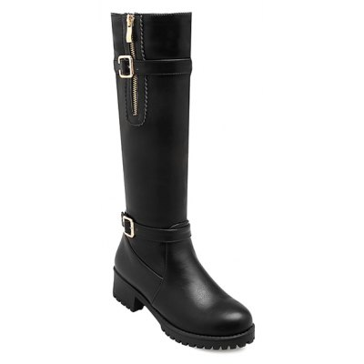 Side Zipper Buckle Leather Knee Length Boots