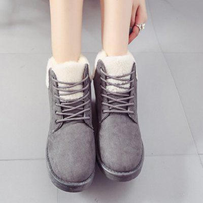 Faux Shearling Flat Heel Snow Boots