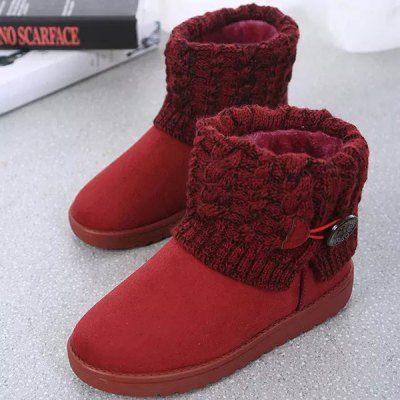 Suede Button Cable Knitted Snow Boots