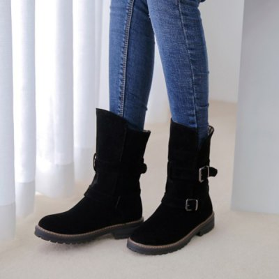 Buckle Slip On Suede Flat Ankle Boots
