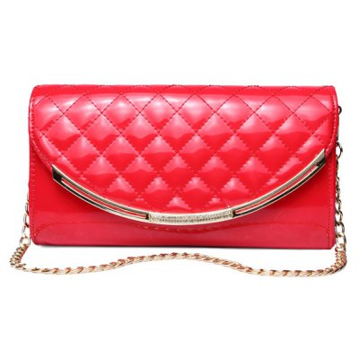 Patent Leather Metal Trimmed Rhombic Crossbody Bag