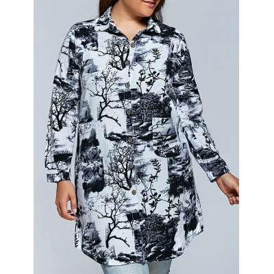 Plus Size Ink Painting Print Dress
