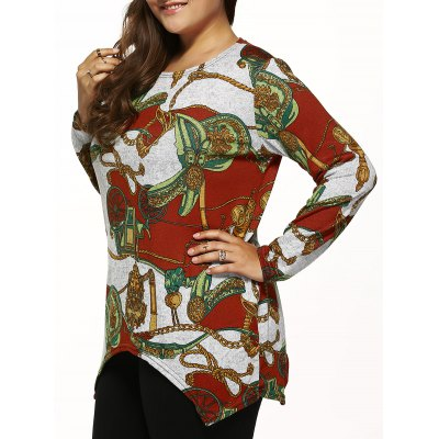 Long Sleeve Printed Knitted Asymmetrical Pullover