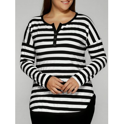 Striped Buttoned T-Shirt