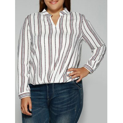 Loose Striped Printed Blouse