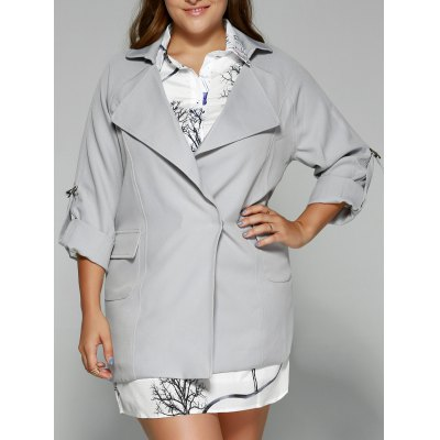 Hemming Sleeves Twin Pockets Trench Jacket