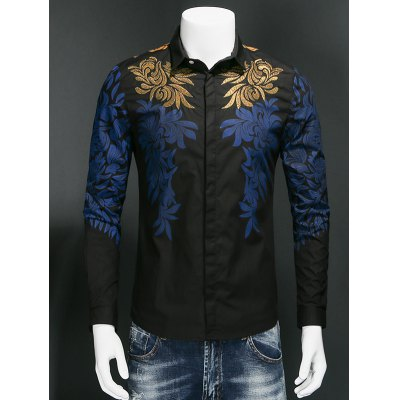 Print Embroidered Covered Button Front Shirt