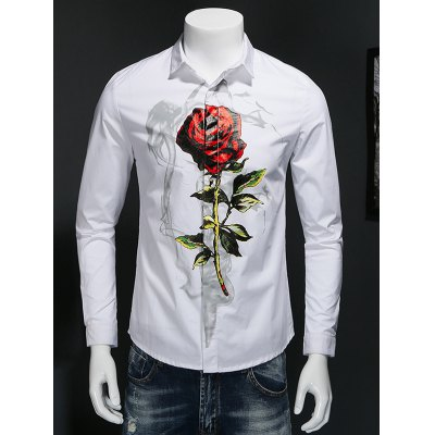Rose Print Covered Button Front Shirt