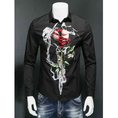 Rose Print Covered Button Front Long Sleeve Shirt