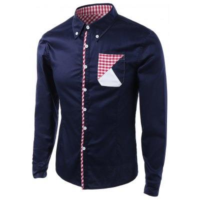 Gingham Splicing Design Turn-Down Collar Long Sleeve Shirt