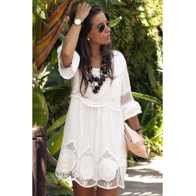 Fashionable Scoop Neck 3/4 Sleeve Lace Splicing Dress For Women