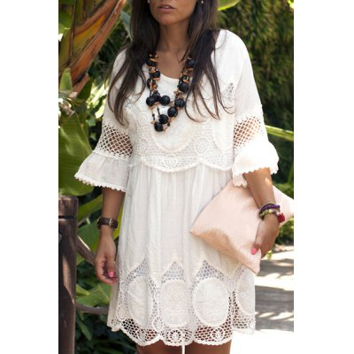 Scoop Neck 3/4 Sleeve Lace Splicing Dress For Women