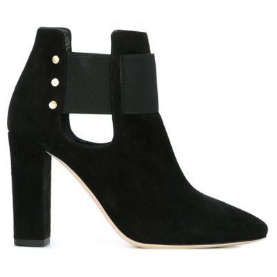 Elastic Band Pointed Toe Ankle Boots