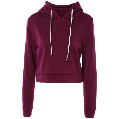 Long Sleeve Pure Color Cropped Hoodie