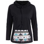 Patchy Sleeve Sequined Pocket Spliced Hoodie