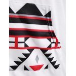 best Patchy Sleeve Front Pocket Geometric Hoodie
