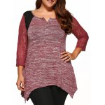 Plus Size Lace Sleeve Asymmetrical Blouse