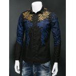 cheap Leaf Print Embroidered Covered Button Front Shirt