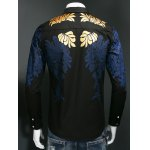 Leaf Print Embroidered Covered Button Front Shirt deal