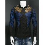 Leaf Print Embroidered Covered Button Front Shirt