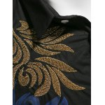 Leaf Print Embroidered Covered Button Front Shirt for sale