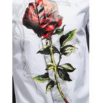 best Rose Print Covered Button Front Long Sleeve Shirt