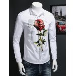 cheap Rose Print Covered Button Front Long Sleeve Shirt