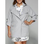 Hemming Sleeves Double Pockets Trench Jacket