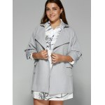 cheap Hemming Sleeves Double Pockets Trench Jacket