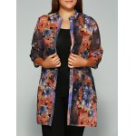 Floral Print Buttoned Chiffon Blouse