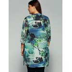 Side Slit Lake Scenery Printed Chiffon Blouse for sale