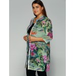Buttoned Peony Printed Chiffon Blouse deal