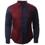 Color Block Splicing Design Turn-Down Collar Long Sleeve Shirt 11027