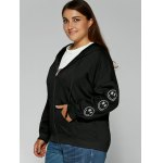 Smile Face Embroidered Zipper Flying Hoodie deal