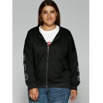 cheap Smile Face Embroidered Zipper Flying Hoodie